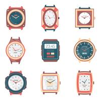 Different Types Watches Flat Icons Collection