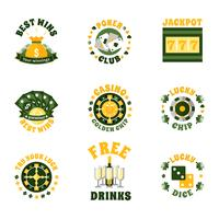 Casino Icons Badges Set