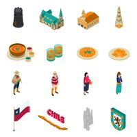 Chile Touristic Attractions Isometric Icons Set vector