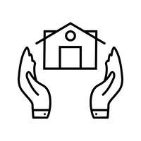 Icono de línea de seguro negro