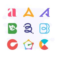 Creative Monogram Logo Collection. Letter A B C Logo. Flat Style