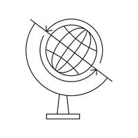Ícone de linha preta do globo