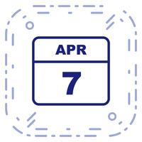 April 7th Date on a Single Day Calendar