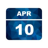 April 10th Date on a Single Day Calendar