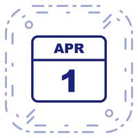 April 1st Date on a Single Day Calendar