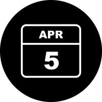 April 5th Date on a Single Day Calendar