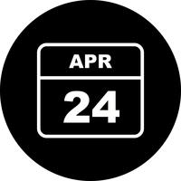 April 24th Date on a Single Day Calendar
