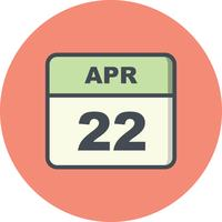 22 april Date on a Single Day Calendar
