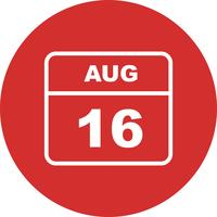 August 16th Date on a Single Day Calendar