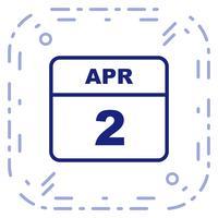 2 aprile Data in un giorno unico calendario
