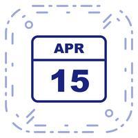 15 april Datum op een eendaagse kalender