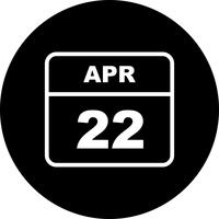 April 22nd Date on a Single Day Calendar vector