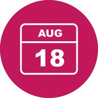 August 18th Date on a Single Day Calendar