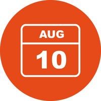 August 10th Date on a Single Day Calendar