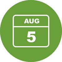 August 5th Date on a Single Day Calendar