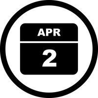 2 april Datum på en enkel dagskalender