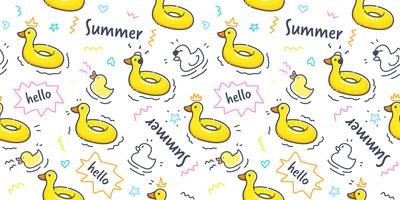 Duck rubber ring pattern seamless in pastel color. Duck swimming ring with cute hand drawn doodle summer element on white background for wallpaper, scrapbook, wrapping paper and kid fabric print.