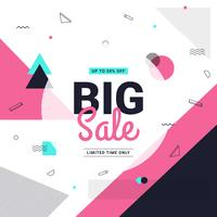 Big sale banner Memphis style with geometric shapes. Sale background template. Vector illustration