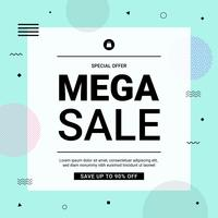 Memphis sale banner minimal style with geometric shapes. Sale background template in blue tone. Vector illustration