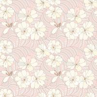 Blommigt sömlöst mönster. Blomma bakgrund. Blommig trädgårdsteknik.