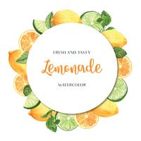 Tropical season fruits wreaths banner design, passion fruit orange fresh and tasty frame,watercolor card design vector illustration