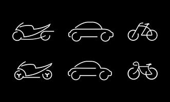 Car, bike and motorcycle - vector icons