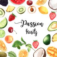Tropical fruit frame banner with text, passionfruit with kiwi, pineapple, fruity pattern, fresh and tasty, aquarelle isolated vector illustration