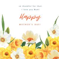Daffodil and Magnolia  Blooming flower watercolor wedding cards floral aquarelle, invitation save the date, wedding celebrate marriage, Thanks Card design Illustration. vector