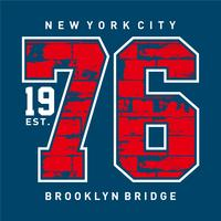 New York City 1976, impression de typographie de t-shirt