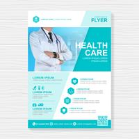Healthcare cover a4 template design and flat icons for a report and medical brochure design, flyer, leaflets decoration for printing and presentation vector illustration
