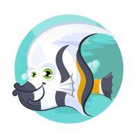 Peixe, ilustração, isolado