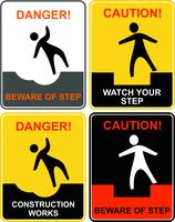 Beware of step, falling man - warning sign