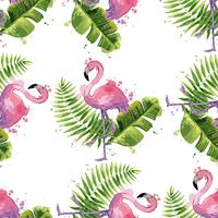 Vector pink flamingo with exotic tropical leaves. Seamless pattern.