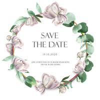 Pink Peony wreaths watercolor flowers with text ,florals aquarelle isolated on white background. Design decor for card wedding, invitation poster, banner.