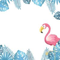 Tropical background with birds and plants