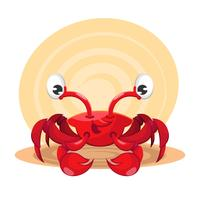 Dessin animé crabe marin rouge