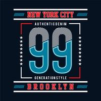 ninety-nine with new york city typographic design