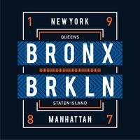 conception de typographie new york queens pour t-shirt