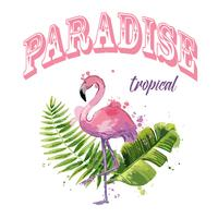 Vector pink flamingo with exotic tropical leaves.