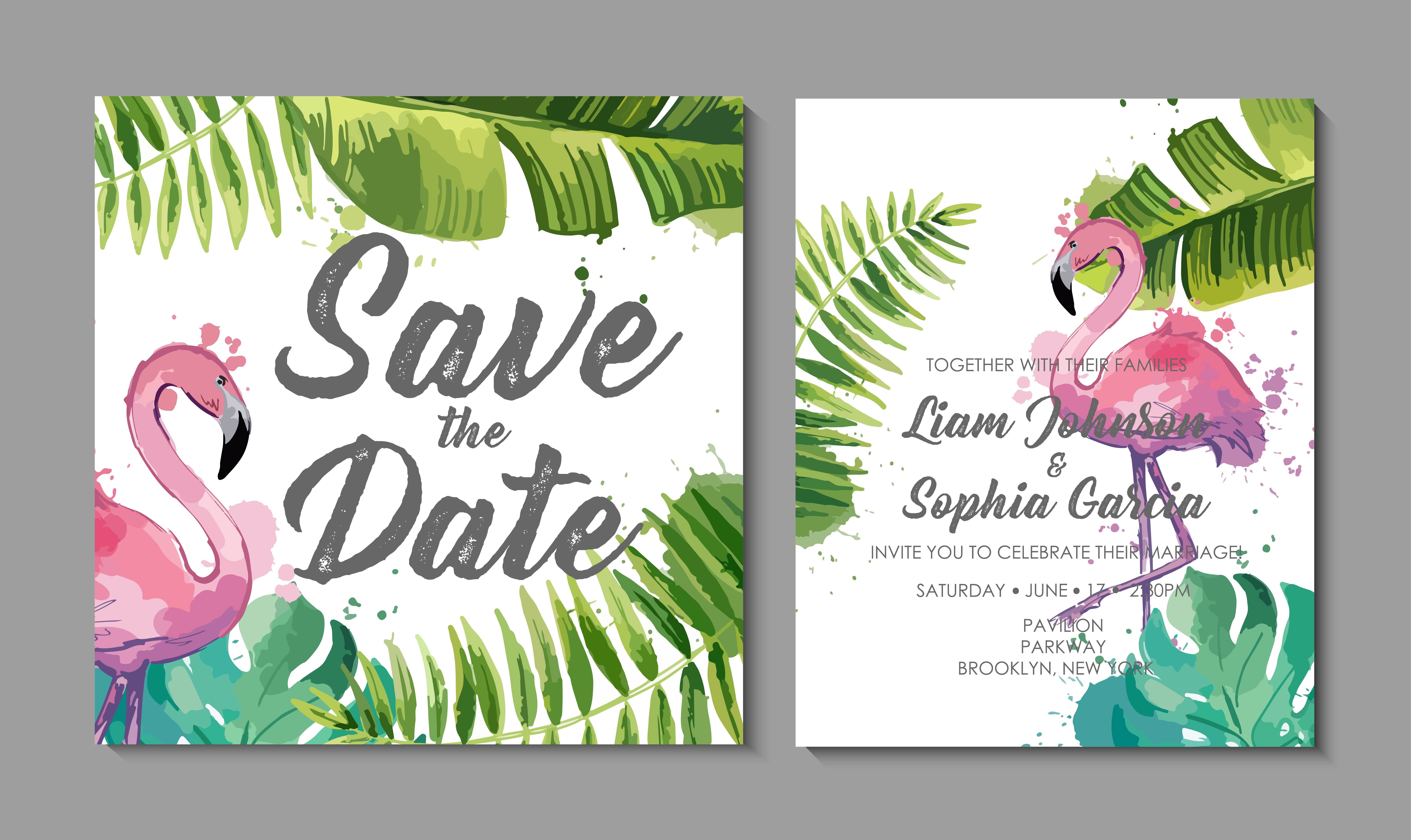 Wedding Invitation Suite With Exotic Tropical Leaves Download Free Vectors Clipart Graphics Vector Art About tropical palm tree leaves invitation: vecteezy