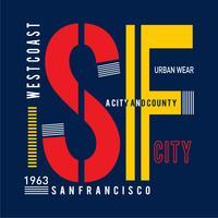 Sanfrancisco typografieontwerp voor t-shirt