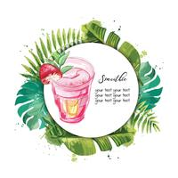 Smoothie. Vector background with tropical leaves.