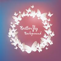 Paper art butterfly background, vector design