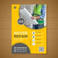 Construction tools cover a4 template and flat icons for a report and brochure design, flyer, banner, leaflets decoration for printing and presentation vector illustration