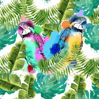 Exotic background with parrots and tropical leaves.