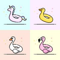 Animal pool inflatable ring icon collection contain Unicorn, Duck, Swan and flamingo. Cute animal swim ring design for business logo, social banner, summer poster and app icon.