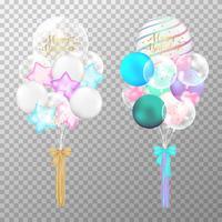 Ballongeburtstag auf transparentem Hintergrund. Bunte vektorabbildung des realistischen transparenten Ballons. Für Dekorationen Geburtstagsparty Designvorlage.