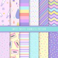 Sweet Pastel seamless pattern collection. Set of 12 colorful background with polka dot, stripe and simple symbol. Kawaii patterns vector for gift wrap, wallpaper, wrapping paper and fabric patterns.