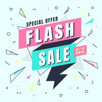 Flash Sale banner Memphis style with geometric shapes. Sale background template create by vector.