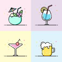 Bere collezione di icone di colore pastello in stile linea piatta. Il set contiene drink di cocco, bicchiere d'acqua, cocktail e boccale di birra per social media banner, poster party estivo e design di icone app.